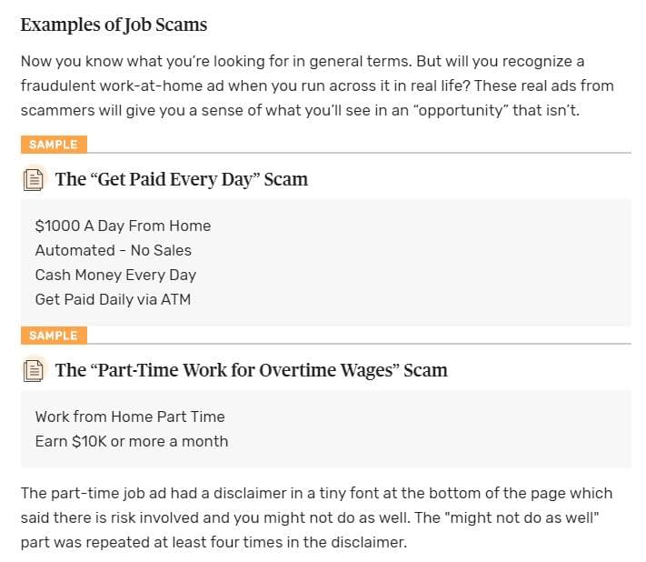 examples of job scams