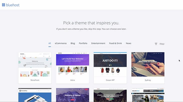 Pick a theme that inspires you bluehost