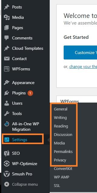 Wordpress Setting configuration